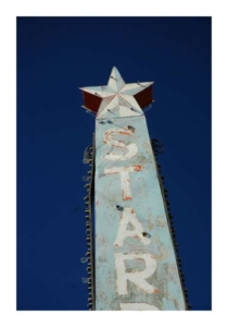 STAR sign in Marfa, Texas, empty ranchlands of West Texas